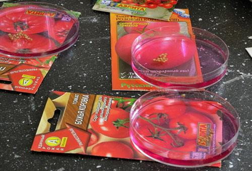 Семена томатов в растворе марганцовки