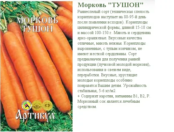 Описание моркови тушон