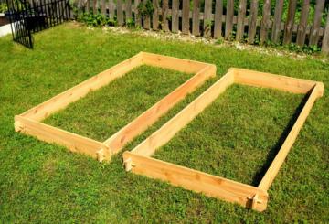 Гряды, сделанные с помощью деревянных досок