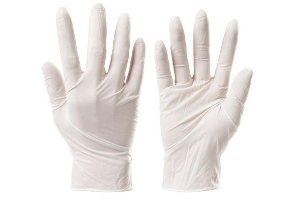 Белые виниловые перчатки